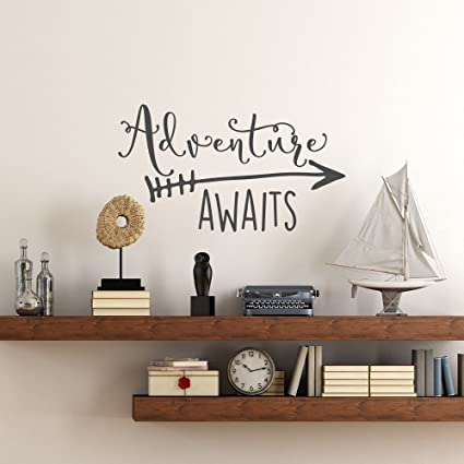 Amazon Com Thoothy Wall Sticker Quote Travel Theme Adventure Awaits