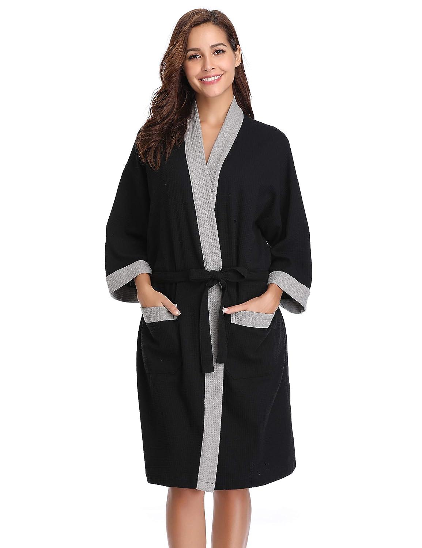 Vlazom Waffle Dressing Gowns Unisex Kimono Robe Cotton Lightweight Bathrobe for All Seasons Spa Hotel Sleepwear