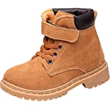 WUIWUIYU Boys Girls Suede Lace-Up Velcro Combat Tactical Booties School Dress Ankle Snow Boots