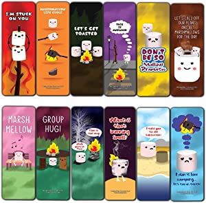 Cute Marshmallow Puns Jokes Bookmarks (12-Pack) - Six Assorted Bulk Pack Book Page Clippers – Great Stocking Stuffers Gifts for Men, Women, Boys, Girls, Teens – Unique Token Giveaways