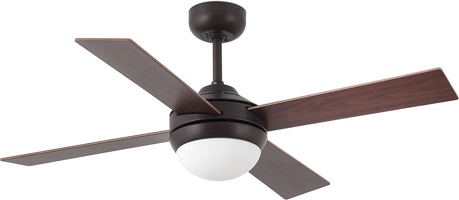 Faro Barcelona 33697 - MINI ICARIA Ventilador de techo con luz LED, color marron óxido
