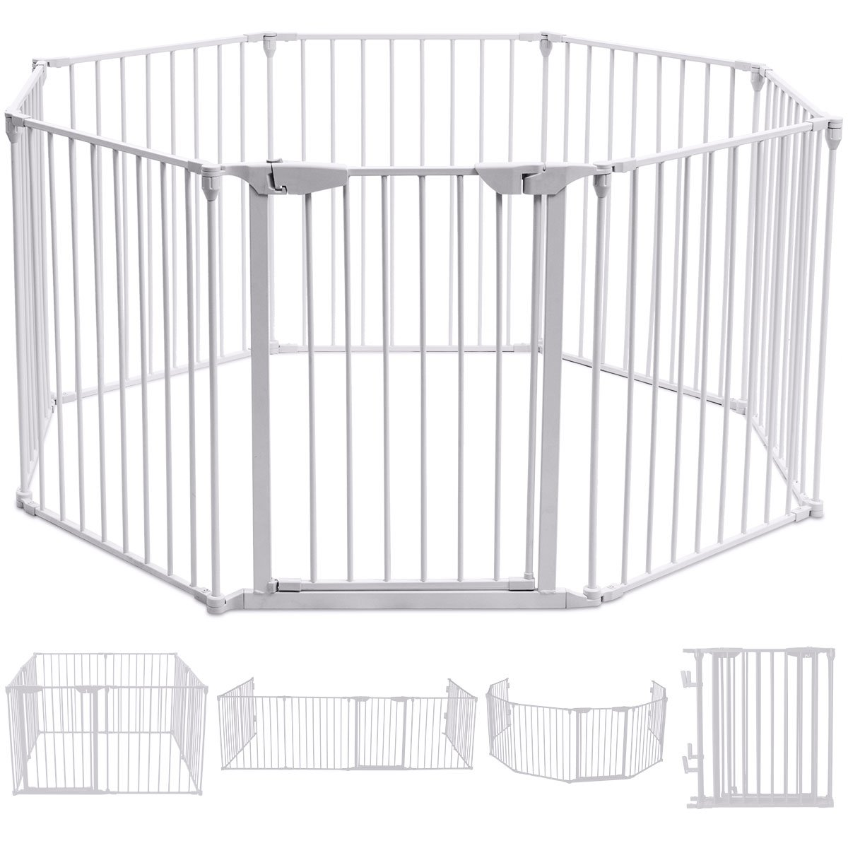 COSTWAY 6& 8 Panel Baby Playpen Metal Foldable Design Multiple Use for Pet Fence, Room Divider, Yard Barrie, Fire Guard (8 Panels, Black)