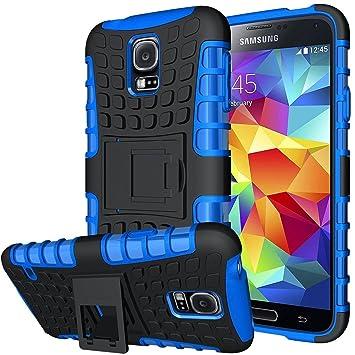 Conie Outdoor Hülle kompatibel mit Samsung Galaxy S5 Mini, verstärkte Schutzhülle Rutschfest wasserabweisend Kantenschutz Rückschale Case in Blau