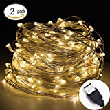 Led string lights,InteTech [2 Pack]10m 100 LEDs Micro silver Wire Waterproof LED String Fairy Lights Indoor Outdoor Starry String Lights Lighting DIY Decoration for Bedroom Jars Garden Camping Festive (Warm white)
