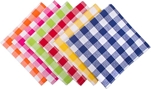 DII 100% Cotton, Basic Everyday 18x18 Buffet Napkin, Set of 6, Assorted Checkers