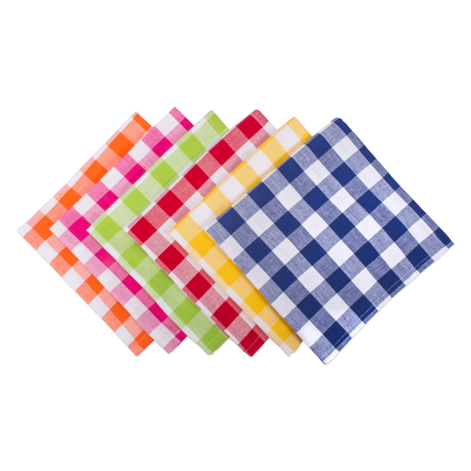 DII 100% Cotton, Basic Everyday 18x18'' Buffet Napkin, Set of 6, Assorted Checkers by DII
