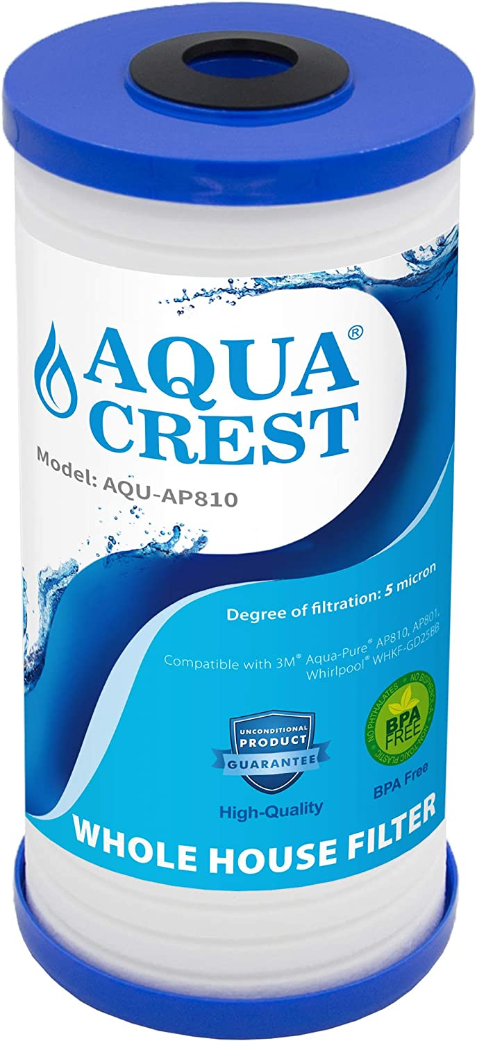 AQUACREST AP810 5 Micron Whole House Water Filter, Compatible with 3M Aqua-Pure AP810, AP801, AP811, Whirlpool WHKF-GD25BB, Pack of 1