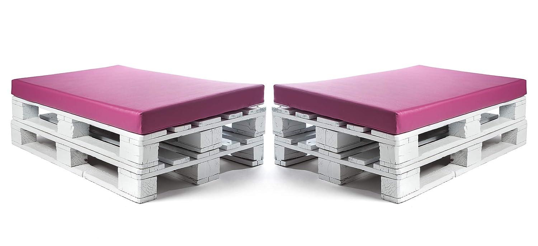 SUENOSZZZ-ESPECIALISTAS DEL DESCANSO Colchonetas para Sofas de Palet (2 x Unidades) Cojin Relleno con Espuma. Color Fucsia | Cojines para Chill out, ...