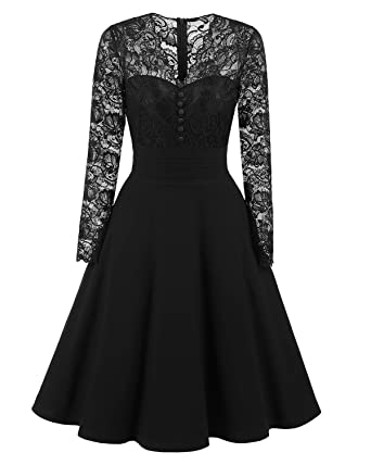 BEIJG women autumn long sleeves lace prom dress formal casual swing party cocktail dresses S-