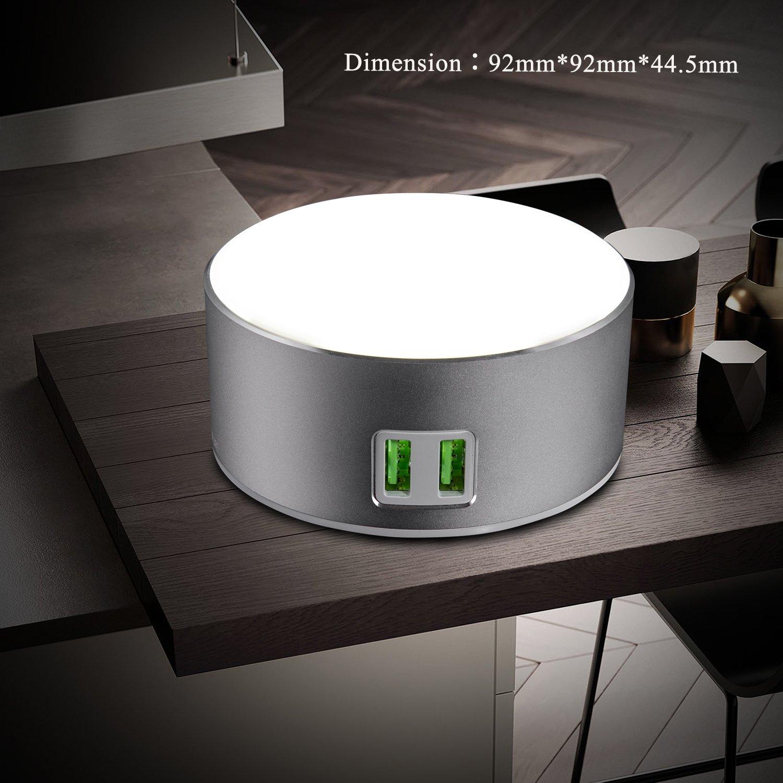 2 USB-Ladeanschluss Intelligente LED-Nachttischlampe//Nachtlicht Ber/ührungsschalter Dimmbares Licht