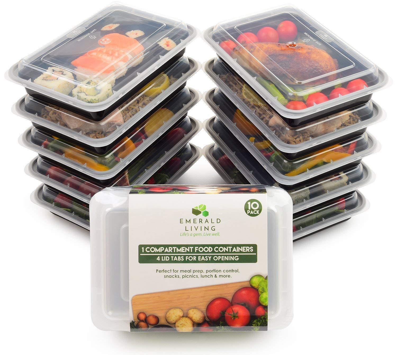 Emerald Living Premium 1 Compartment Meal Prep Container Set, Black