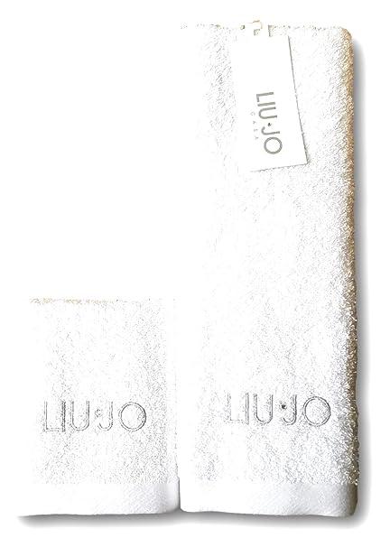 Liujo Coppia Asciugamani Spugna 1+1 Bagno Bianco  Amazon.it  Casa e ... 10772df5a4c