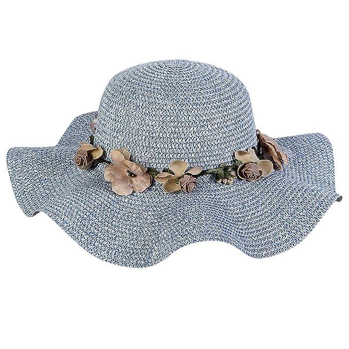 38295cf097ae5 Vectry Sombrero Paja Mujer Sombreros De Paja Sombrero De Sol Sombrero De Paja  Mujer Sombrero Pirata Sombrero Verano Sombrero Azul  Amazon.es  Ropa y ...
