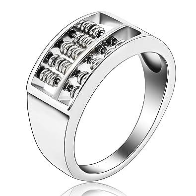 Beydodo Edelstahl Herren Ring 9mm Silber Sehr Klein Abakus