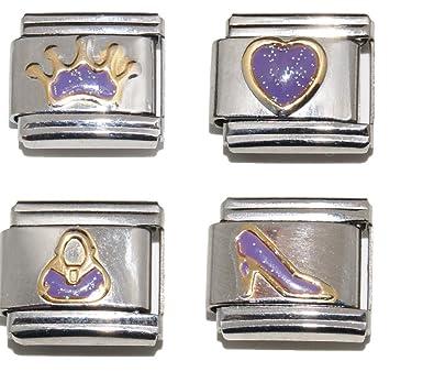 fits 9mm classic bracelets Purple Sparkly Shoe enamel Italian Charm