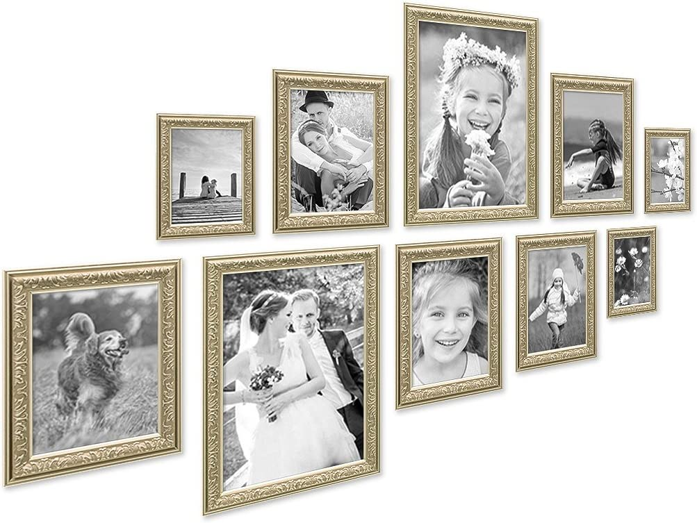 PHOTOLINI 5er Bilderrahmen-Set Antik Gold Nostalgie 21x30 cm DIN A4 Fotorahmen mit Glasscheibe//inklusive Zubeh/ör