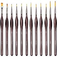12 PCS Paint Brushes Set Nail Art Brushes Professional Sable Hair Extra Fine Detail Paint Brush Set for Art Painting…