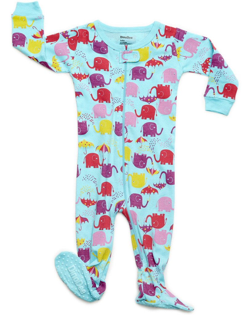 DinoDee Footed Sleeper Pajama 100% Cotton (18-24 Months, Elephant Aqua)