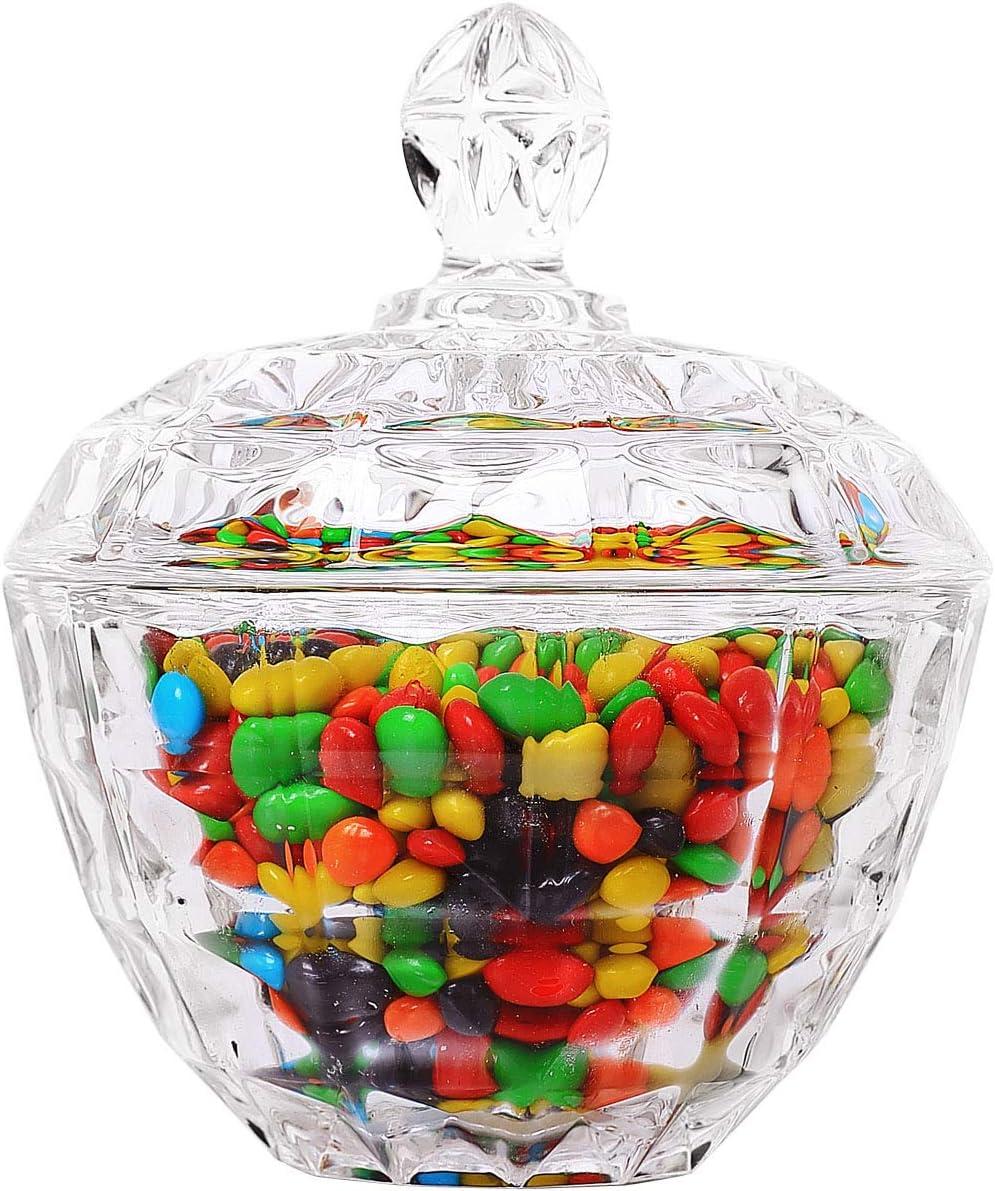 Diametro: 11 cm ComSaf Barattoli Caramelle Vetro con Coperchio Set di 1 Barattolo Porta Caramelle alla Menta Vetro Contenitori per Biscotti Zucchero Spuntini Cioccolato