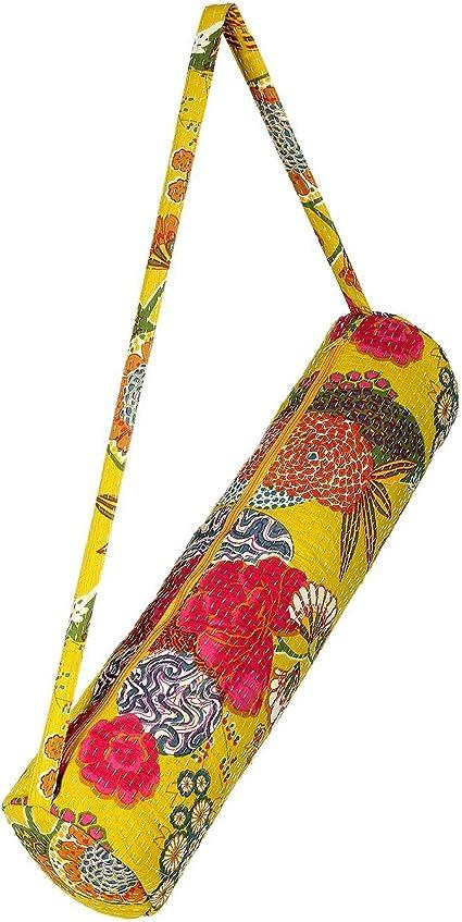 ethical yoga mat bag over the shoulder bag kantha yoga bag kantha bag