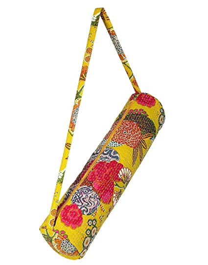 Beautiful amarillo hecho a mano indio bolsa para esterilla ...