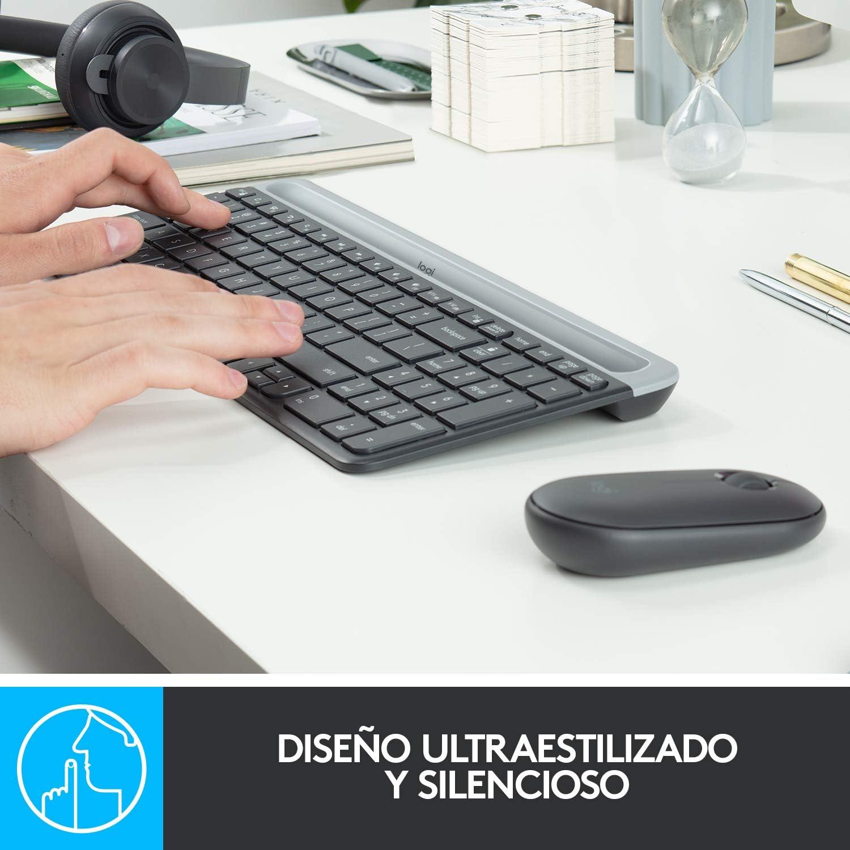 Logitech MK470 Combo Teclado y Ratón Inalámbrico para Windows, Disposición QWERTY Italiano, Gris