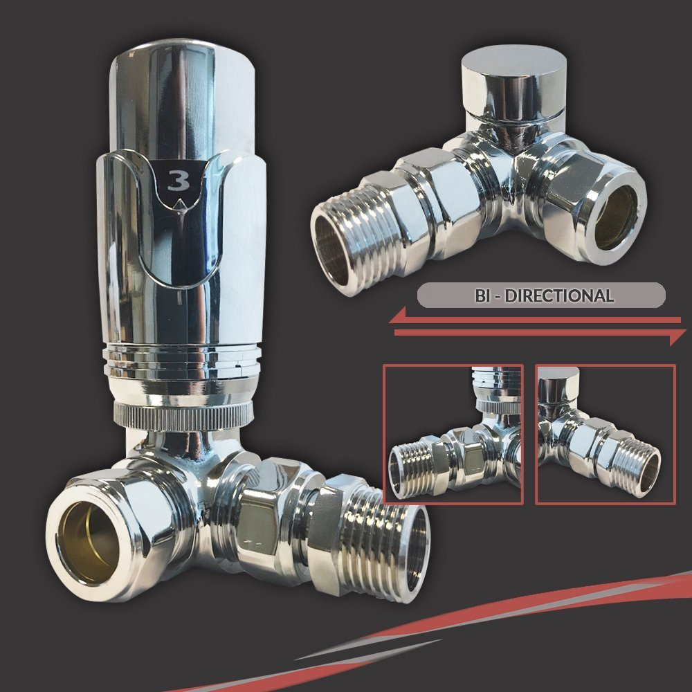 Pair Corner TRV Valves Thermostatic Corner Valve Set - Suitable for Installation of your Heated Towel Rail or Radiator onto your central heating system Settings 0-5
