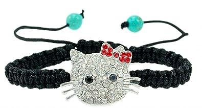 71cec719d PUPRLE Whale Hello Kitty Bracelet Fashionable, Bling, Rhinestone Crystal,  Silvertone Charm, Macramé
