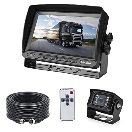 Backup Camera System Kit for RV Van Camper Box Truck, IP69 Waterproof 175 Wide View Angle 7 inch LCD Adjusting Monitor for Front and Reversing CW-BUS-70