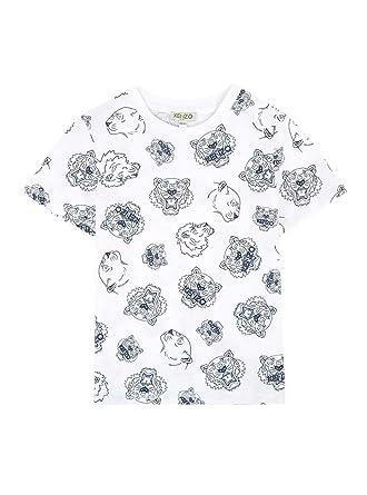 aba5d7c2a Amazon.com: Kenzo Kids Boy's All Over Printed Tiger Short Sleeve T-Shirt  (Big Kids) Optical White 14: Clothing
