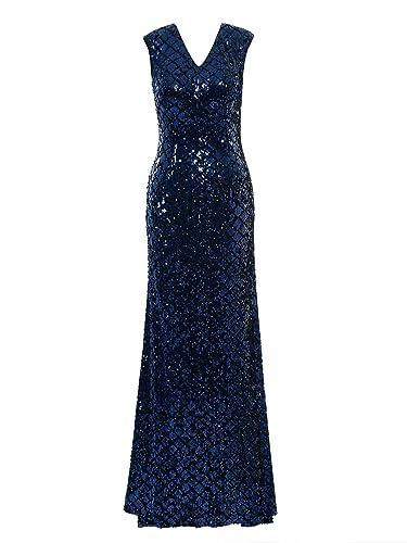 Tanpell Women's V Neck Cap Sleeves Sequins Sheath Evening Dress