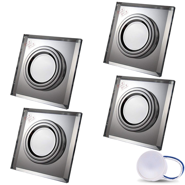 10X 5W LED Modul Kaltweiss Einbautiefe 30 mm 230V IP20 Deckenstrahler Einbauleuchte Deckeneinbaustrahler Einbauspot Clear LED Einbaustrahler aus Glas//Spiegel//Klar extra-flach CRISTAL Eckig Inkl