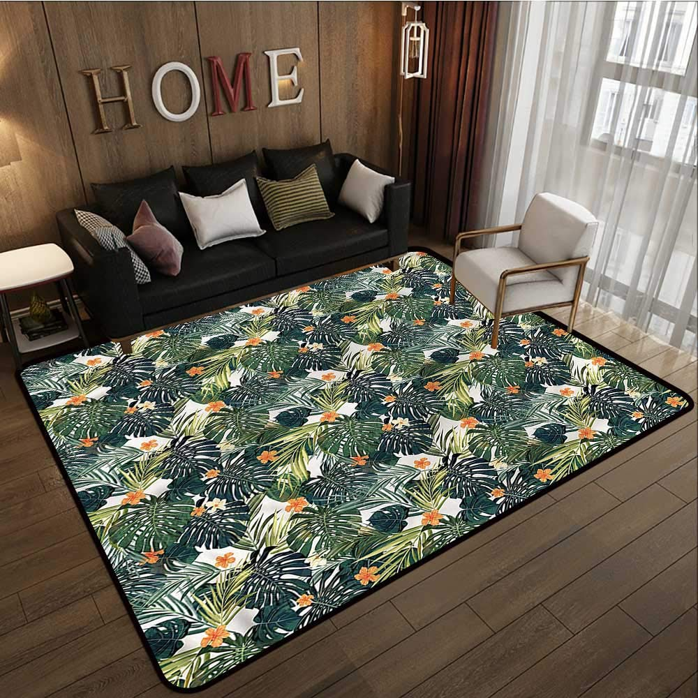 """Green,Multi-USE Floor MAT 48\""""x 60\"""" Hawaiian Tropical Flora All Weather Floor mats 71vG9i0UcwL._SL1000_"""