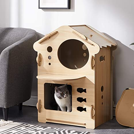 Acro Wood Cat House Cat Hiding Place Kitty Condo Cat Shelter For Indoor Equipped With Matching Cat House Pad Natural 2 Tier Pet Supplies
