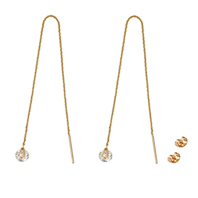 TOP TRENDY Style - Rose Gold Plated Pull Through Threader Long Chain Drop Tassel Cubic Zirconia Dangle Earrings rQbOgJP