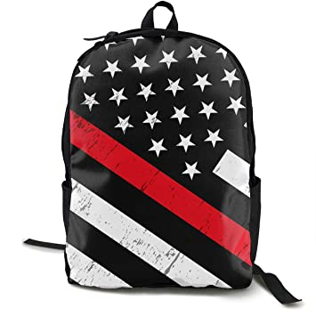 d48e5ee17a4 BLACK SP Firefighter Red Line American Flag Unisex Fashion Laptop Backpack  Printed Lightweight Computer Bag for
