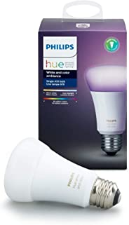 Philips Hue Single Premium A19 Smart Bulb, 16 million colors, for most lamps & overhead lights (Hue Hub Required, Works with