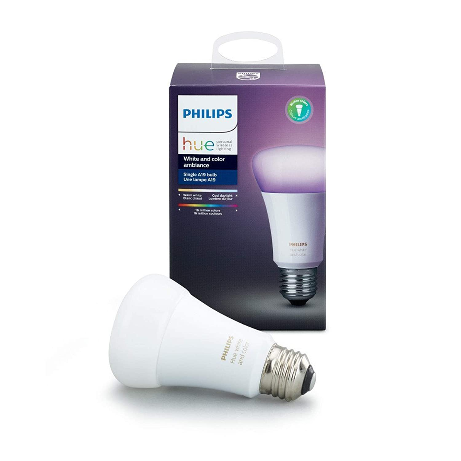 Philips 464487 Hue White And Color Ambiance A19 60w Equivalent Dimmable Led Smart Bulb Compatible With Amazon Alexa Apple Homekit And Google