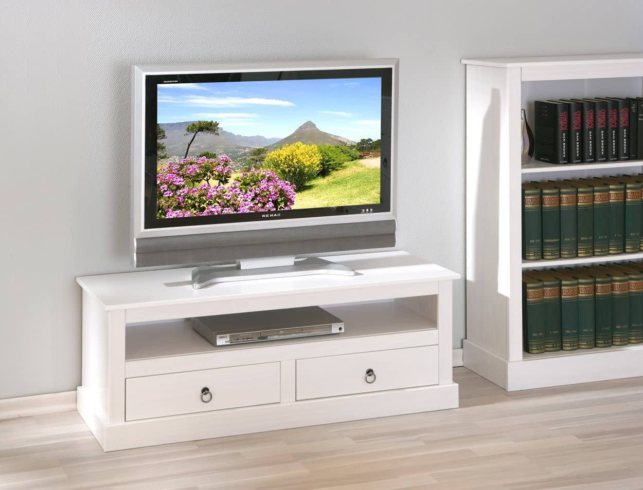 Inter Link Move Mesa de TV Blanca, Pino, 39x45x118: Amazon.es: Hogar