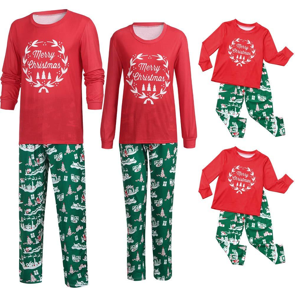 Luoluoluo Pigiama Pigiami Natale Famiglia Pigiami Donna Pigiama Uomo Pigiama Bambina Invernali - 2PC Uomo Donna Bambini Vestiti Manica Lunga Tops + Pantaloni Set Regalo di Natale