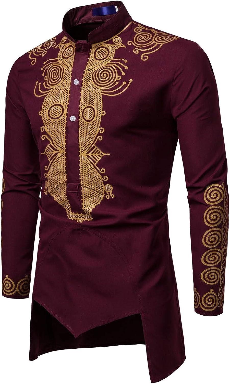 XiaoShop Mens Dashiki Basic Style Bronzing African Long Sleeve Western Shirt