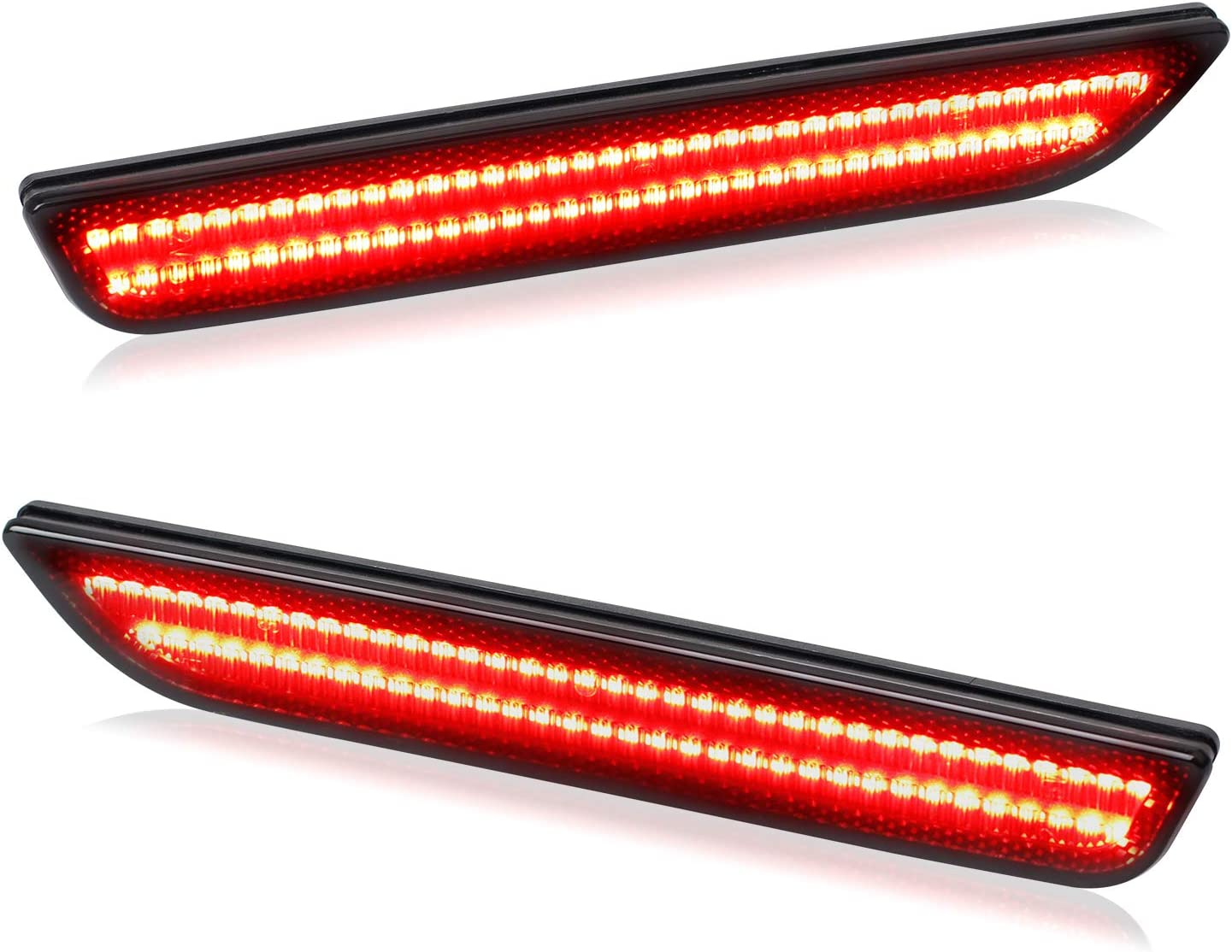 Pack of 2 RUXIFEY Smoked LED Side Marker Lights Rear Sidemarker Lamps Compatible with Ford Mustang 2010 to 2014 Red