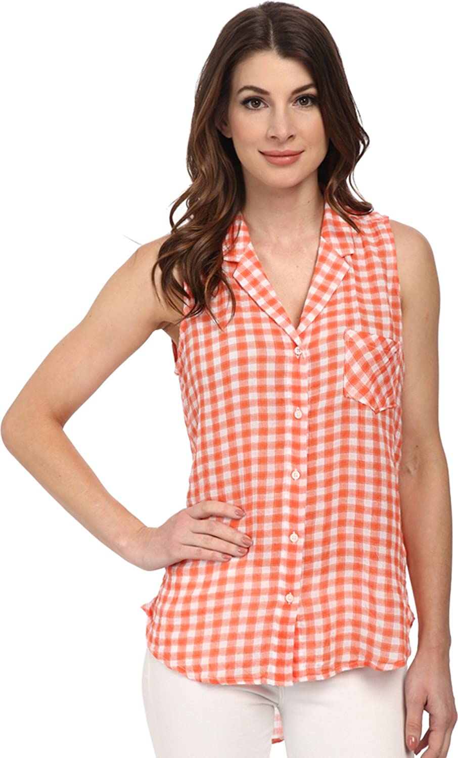 C&C California Women's Hi Low Crinkle Shirt Living Coral Button-up ...