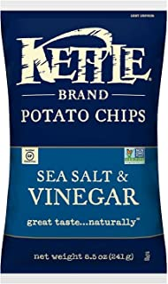 product image for Kettle Brand Potato Chips, Sea Salt and Vinegar, 8.5 Ounce Bags (Pack of 12)
