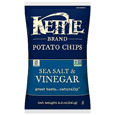 Kettle Brand Potato Chips, Sea Salt and Vinegar Kettle Chips, 8.5 Oz