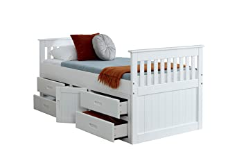 Cloudseller 3ft Single Captain Cabin Storage Solid Pine Wooden Bed