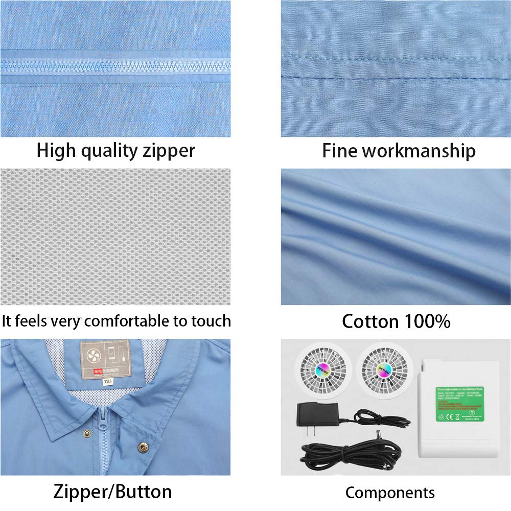 ITIEBO Cooling Clothes & Workwear with Fan & battery pack for man (M, Blue workwear) by ITIEBO (Image #6)