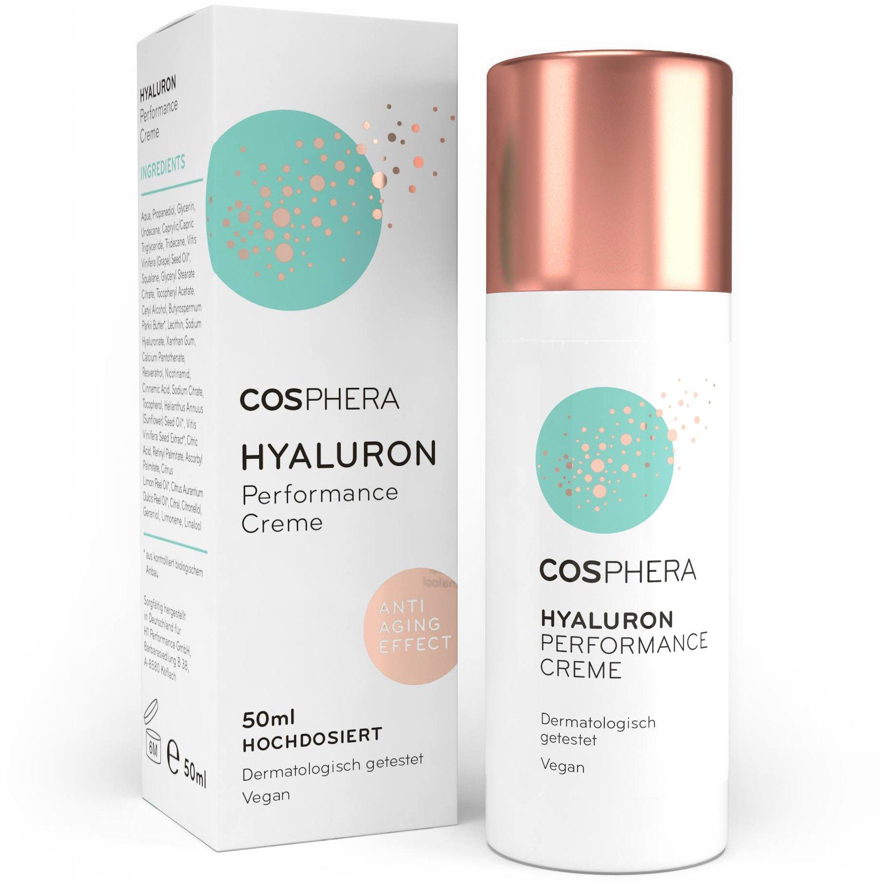 Cosphera - Hyaluron Performance Creme 50 ml - vegane Tages- und Nachtcreme hochdosiert für Gesicht, Hals, Dekolleté, Augen - Anti-Falten Feuchtigkeitsbehandlung für Frauen und Männer product image