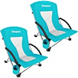 KingCamp Low Sling Beach Chair for Camping Concert Lawn, Low and High Mesh Back Two Versions