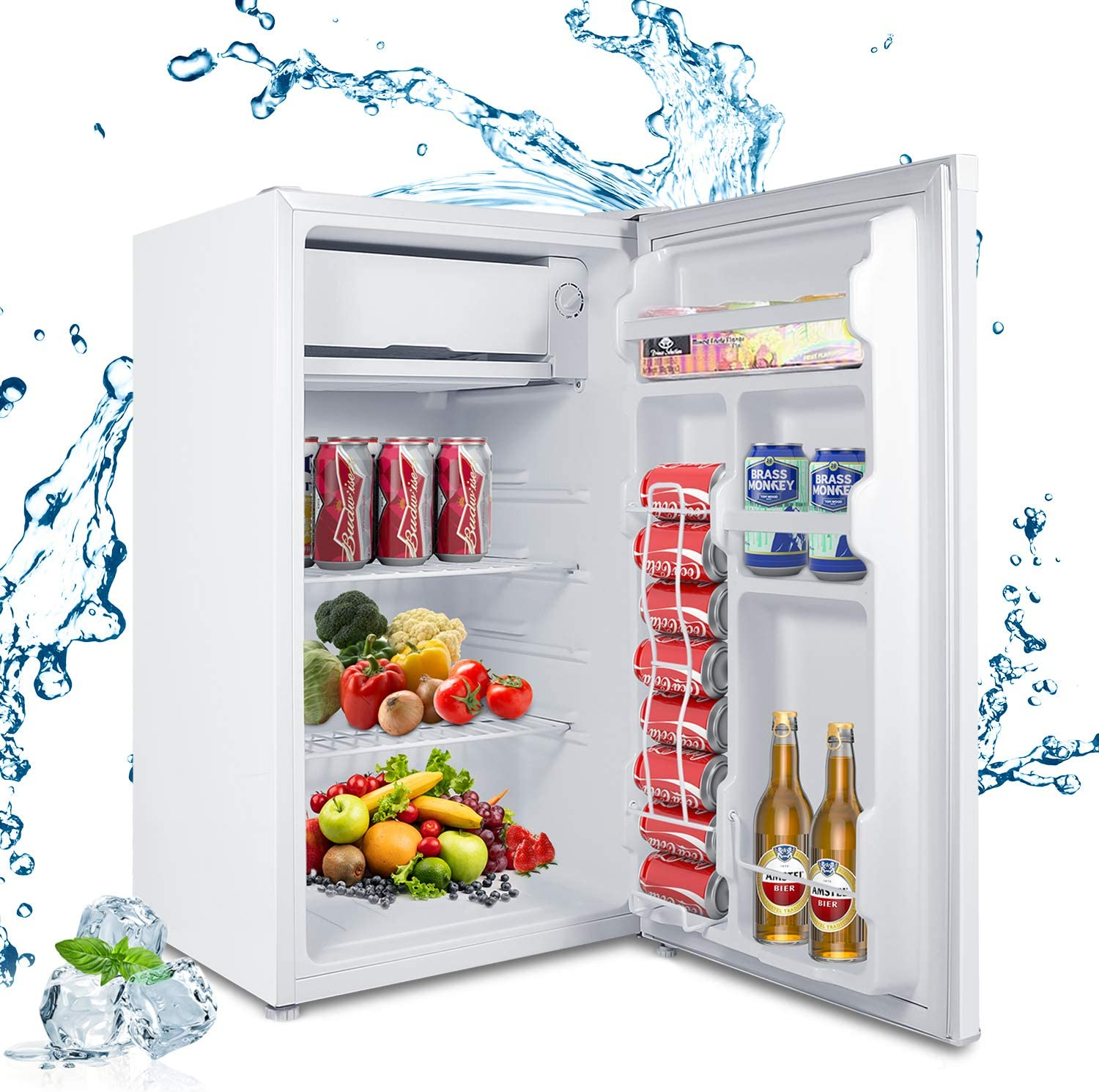 MOOSOO Compact Refrigerator, 3.2 Cu.Ft Mini Fridge with Freezer, Ultra Quiet, Reversible Door,7 Adjustable Thermostat,Energy Saving UL, CSA, DOE Certificated, Ideal Food and Drink Beer Storage for Kitchen,Dorm,Office,Bedroom,Apartment (White)